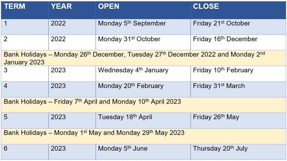 Term Dates 2022-2023